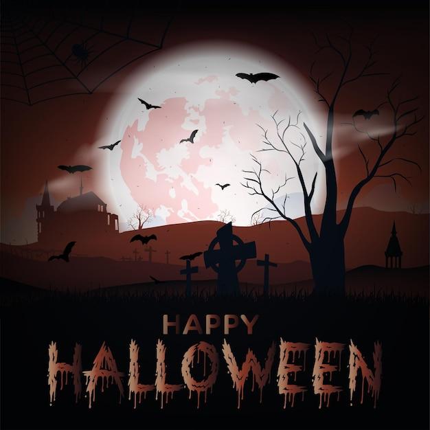 Halloweenowy krajobraz z zamkiem, nietoperzami, księżycem i cmentarzem. wektor