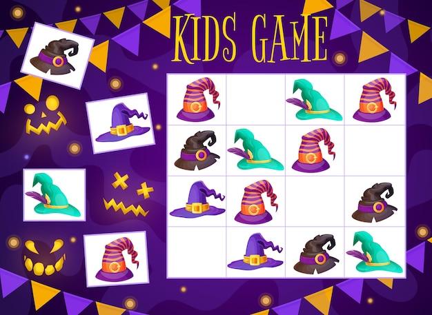 Halloweenowy kreator gry labirynt i kapelusze czarownic sudoku zagadka dla dzieci. wektor szkoła, przedszkole zadanie edukacyjne ile czapek maga na szachownicy. arkusz gry planszowej z kreskówek