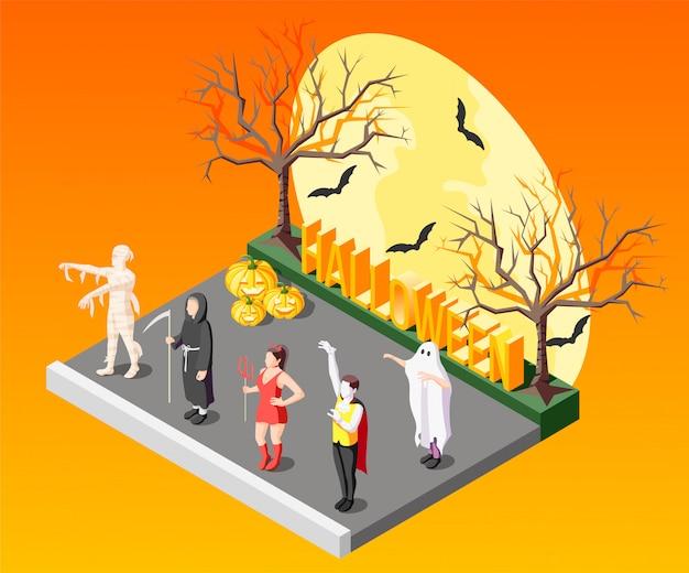 Halloweenowy maskaradowy izometryczny skład z ludźmi w strasznych kostiumach na pomarańcze z nietoperzami i nagimi drzewami 3d
