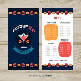 Halloweenowy menu szablon w płaskim projekcie