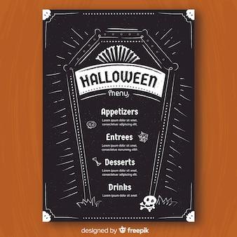 Halloweenowy menu szablon w ręka rysującym stylu