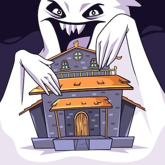Halloweenowy motyw domu festiwalu