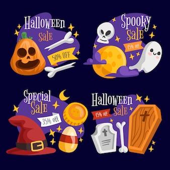 Halloweenowy motyw kolekcji etykiet sprzedaży