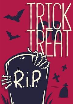 Halloweenowy nagrobek zombie na plakat upiorny cmentarz na szczęśliwe halloween walking dead