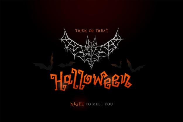 Halloweenowy napis i nietoperz web horror koncepcja transparent projekt ilustracji wektorowych