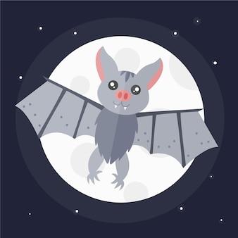 Halloweenowy nietoperz w płaskiej konstrukcji