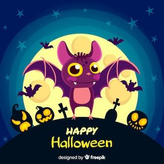 Halloweenowy nietoperza tło w płaskim projekcie