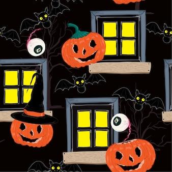 Halloweenowy noc bezszwowy deseniowy wektor