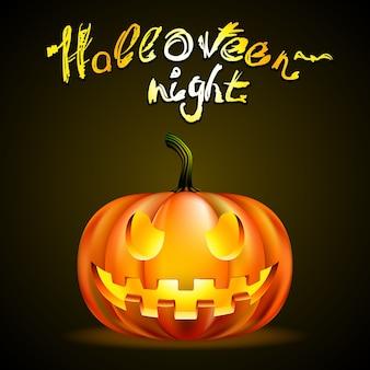 Halloweenowy nocny plakat ze złowrogą dynią