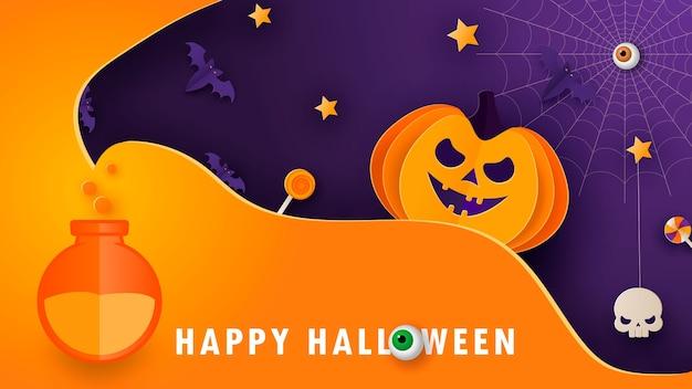 Halloweenowy nowoczesny minimalny szablon na stronę internetową, powitanie lub baner promocyjny, ulotka w stylu cięcia papieru z uroczą dynią i innymi tradycyjnymi elementami halloween na ciemnym tle. wektor