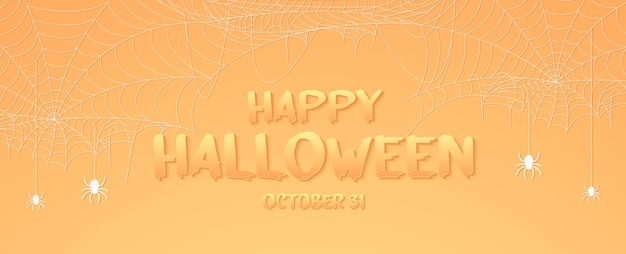 Halloweenowy pajęczy baner, pajęczyna tło z tekstem