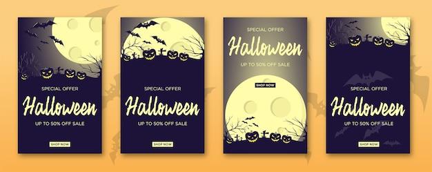 Halloweenowy pakiet wyprzedażowy w ciemnoniebieskim kolorze.