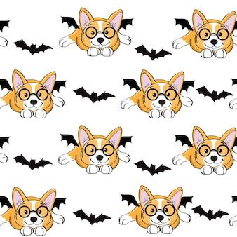 Halloweenowy pies corgi w kostium nietoperza wzór. ilustracja wektorowa na białym tle