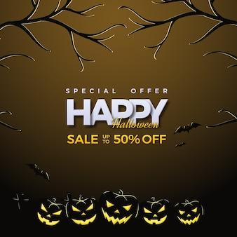 Halloweenowy plac sprzedaży w ciemnobrązowym kolorze.