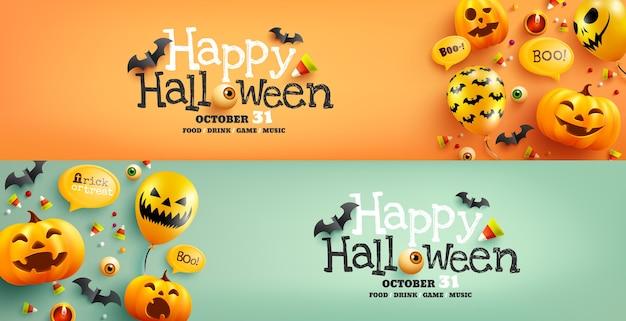 Halloweenowy plakat i szablon transparentu z uroczą halloweenową dynią, nietoperzem, cukierkami i balonami z duchami.
