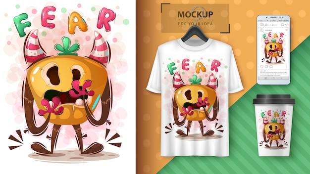 Halloweenowy plakat potwora i merchandising
