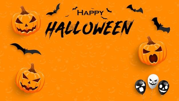 Halloweenowy plakat promocyjny z dynią i nietoperzem. tło lub baner szablon halloween.