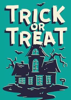 Halloweenowy plakat z ciemnym domem lub domem strachu noc upiorny nawiedzony dom na szczęśliwe halloween