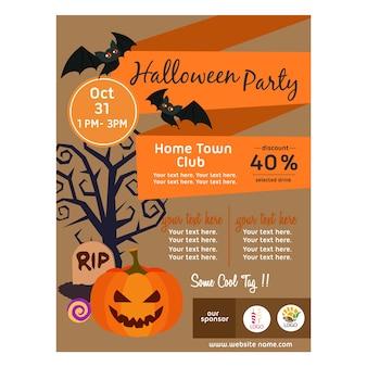 Halloweenowy plakat z dyniowym mieszkanie stylem