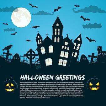 Halloweenowy plakat z gotyckim zamkiem i sylwetkami nagrobków na księżycowym niebie