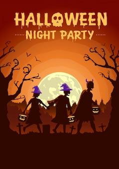 Halloweenowy plakat z grupą dzieci w fantazyjnych strojach i kapeluszach, jako wiedźma niosąca garnek, by w nocy zabiegać o prezenty
