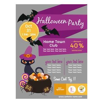 Halloweenowy plakat z kota mieszkania stylem
