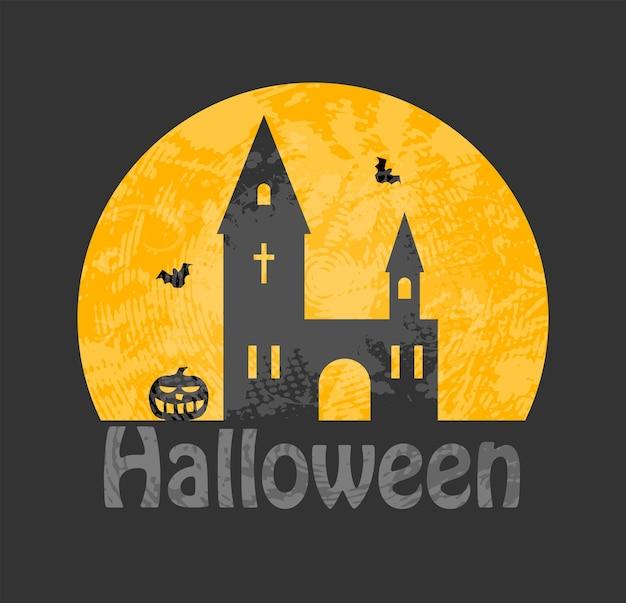 Halloweenowy plakat z nawiedzonym domem na cmentarzu, nietoperzami i księżycem w pełni. ilustracja wektorowa.