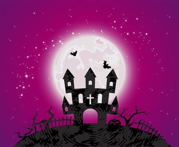 Halloweenowy plakat z nawiedzonym domem na cmentarzu, nietoperze