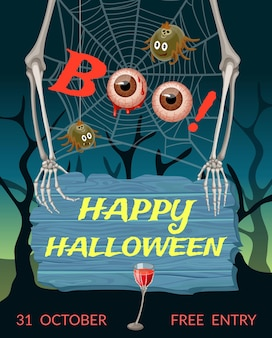Halloweenowy plakat z pająkami