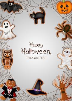 Halloweenowy plakat z piernikowymi ciasteczkami i pajęczyną