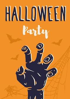 Halloweenowy plakat z pooky zombie szkielet szczęśliwego halloween na ciemną chodzącą martwą imprezę