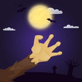 Halloweenowy plakat z przerażającą ręką strasznego zombie. nocny horror