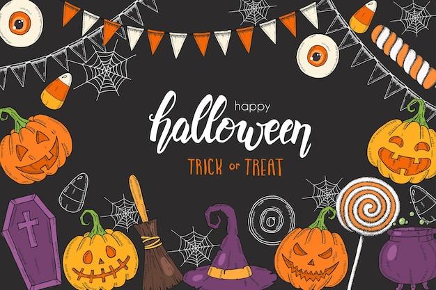 """Halloweenowy plakat z ręcznie rysowanym dyniowym jackiem, kapeluszem czarownicy, miotłą, kapeluszem, słodyczami, korzeniami cukierków, trumną, garnkiem z miksturą """"trick or treat"""". szkic, napis. baner halloween, ulotka, broszura. reklama"""