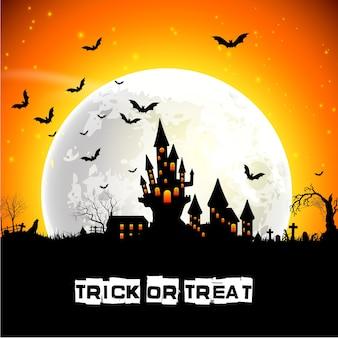 Halloweenowy plakat z strasznym kasztelem na księżyc w pełni tle