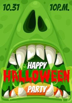 Halloweenowy plakat z zaproszeniem na potwora zombie w nocy horroru