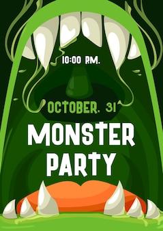 Halloweenowy plakat z zaproszeniem na przyjęcie potwora z otwartymi ustami zombie i ramą zębów