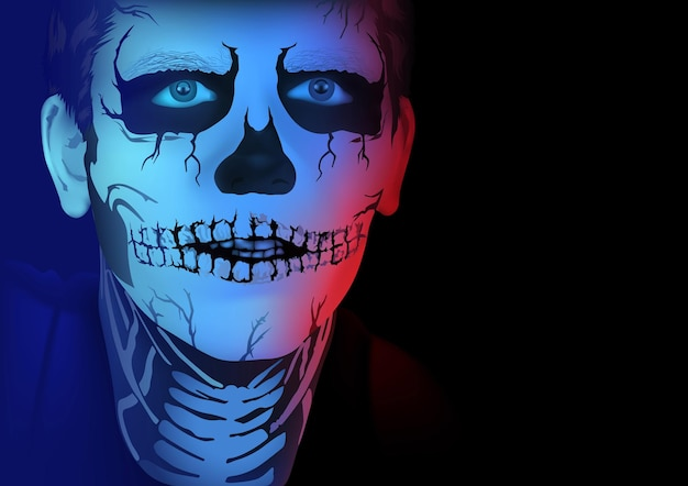 Halloweenowy portret mężczyzny z makijażem szkieletu na czarnym tle