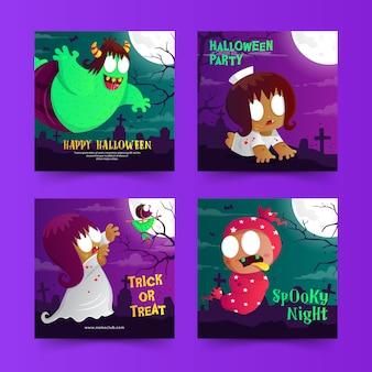 Halloweenowy post w mediach społecznościowych z uroczą indonezyjską kreskówką o duchach