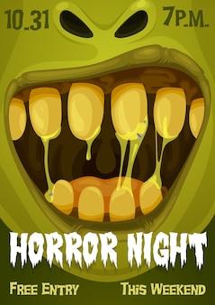 Halloweenowy potwór zombie plakat nocnej imprezy horroru