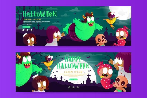 Halloweenowy poziomy baner szablon