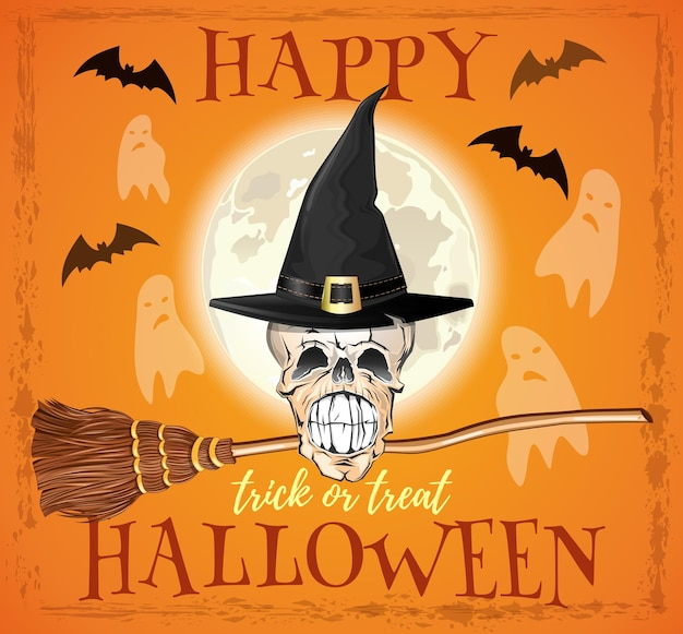 Halloweenowy projekt. czaszka wiedźmy w kapeluszu i z miotłą. cukierek albo psikus. szkielet czarownicy na tle księżyca w pełni. ilustracja wektorowa