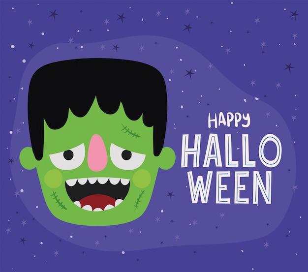 Halloweenowy projekt kreskówki frankenstein, motyw wakacyjny i przerażający