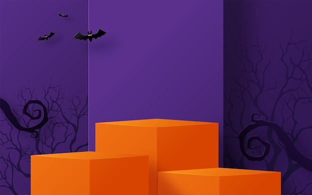 Halloweenowy projekt tła z 3d podium okrągłe kwadratowe pudełko na scenie podium