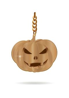 Halloweenowy projekt. złota ozdoba w postaci lampki jacks. złoty jack-o-latarnia. ilustracja wektorowa na białym tle