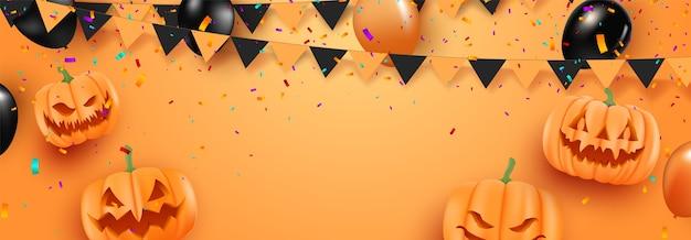 Halloweenowy promocyjny plakat promocyjny z balonami halloween na pomarańczowym tle. straszne balony. straszny szablon strony internetowej lub baner.