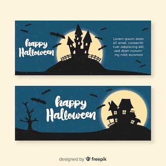 Halloweenowy ręka rysujący sztandaru szablonu projekt