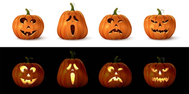 Halloweenowy rzeźbiony upiorny zestaw dyni, odizolowane uśmiechnięte, słodkie, zabawne, szczęśliwe, przerażające, przerażające twarze. ilustracja wektorowa dekoracji wakacje października, świecące światłem lub latarnią obiektów.