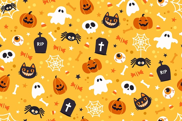 Halloweenowy śliczny deseniowy tło.