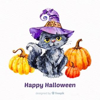 Halloweenowy śliczny kota tło w akwareli