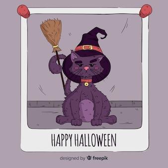 Halloweenowy śliczny kota tło w ręka rysującym stylu